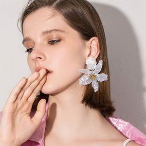 Red oversized flower earrings